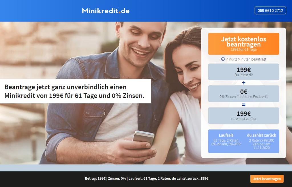 Minikredit.de - 199 € für 61 Tage zu 0 % Zinsen!